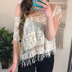 Ecoté Urban Outfitters Cream Fringe Crochet Top